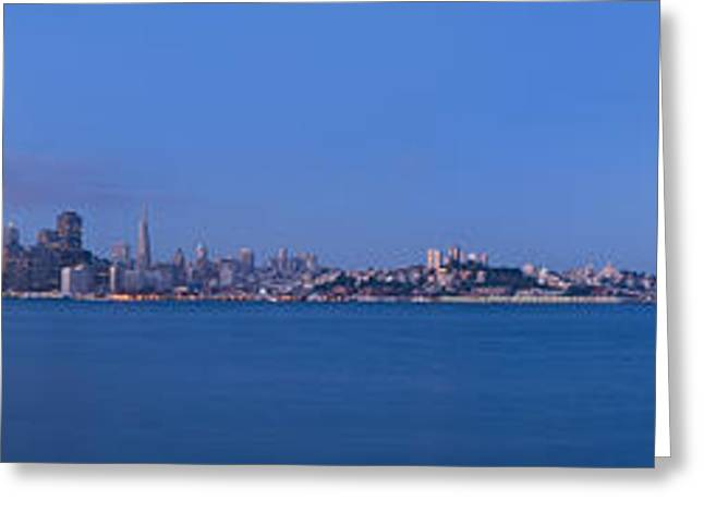 Downtown San Francisco Greeting Cards - San Francisco Skyline Panorama At Dawn Greeting Card by Scott Lenhart