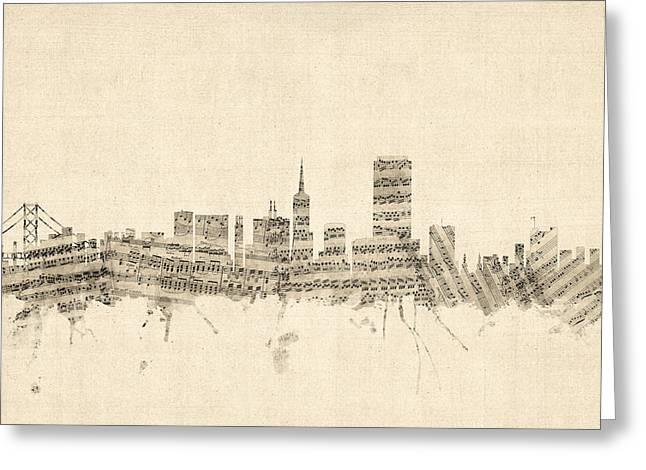 San Francisco Skyline Sheet Music Cityscape Greeting Card by Michael Tompsett