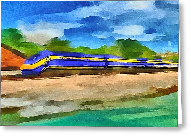 Live Art Greeting Cards - San Francisco Speed Train Greeting Card by Yury Malkov