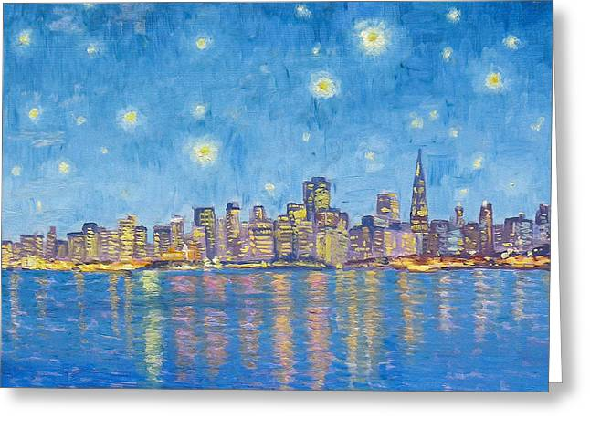 Color_image Greeting Cards - San Francisco starry night Greeting Card by Dominique Amendola