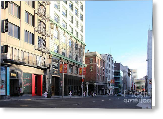 Stockton Street Greeting Cards - San Francisco Stockton Street at Union Square - 5D20564 Greeting Card by Wingsdomain Art and Photography