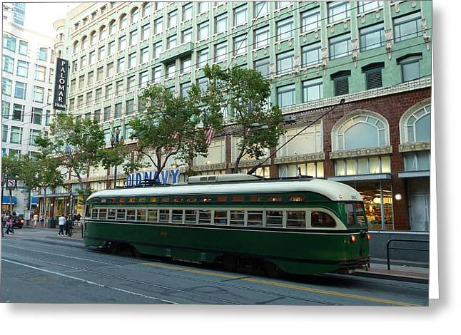 Downtown San Francisco Greeting Cards - San Francisco Street Car Greeting Card by Andrew Rodgers