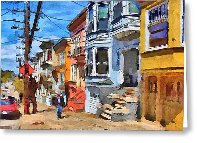 Live Art Greeting Cards - San Francisco Streets 4 Greeting Card by Yury Malkov