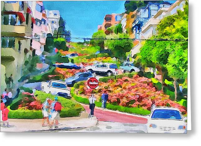 Live Art Greeting Cards - San Francisco Streets 6 Greeting Card by Yury Malkov