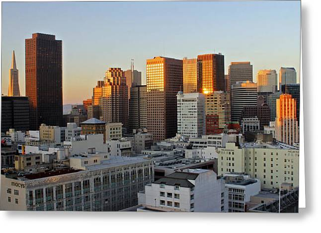Frisco Greeting Cards - San Francisco Sunset Greeting Card by Cedric Darrigrand