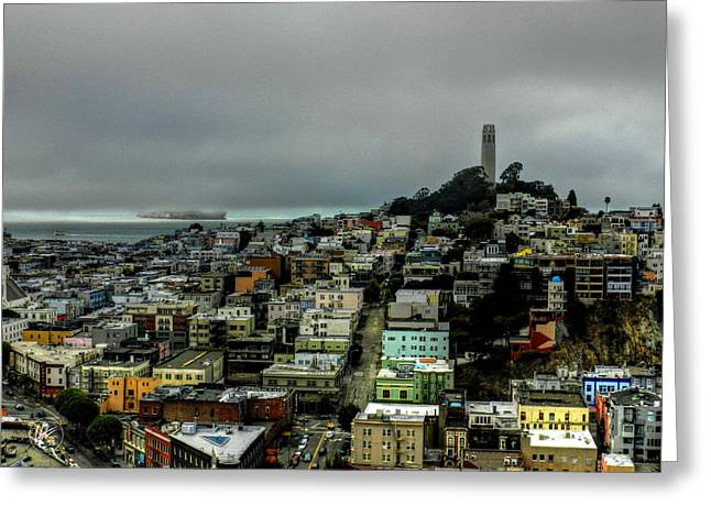 Foggy Beach Greeting Cards - San Francisco - Telegraph Hill 002 Greeting Card by Lance Vaughn