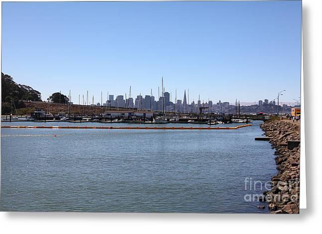 Yerba Buena Greeting Cards - San Francisco Through The Treasure Isle Marina 5D25366 Greeting Card by Wingsdomain Art and Photography
