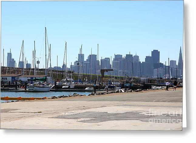 Yerba Buena Greeting Cards - San Francisco Through The Treasure Isle Marina 5D25369 Greeting Card by Wingsdomain Art and Photography