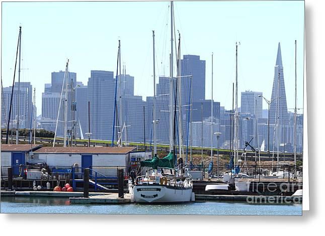 Yerba Buena Greeting Cards - San Francisco Through The Treasure Isle Marina 7D25458 Greeting Card by Wingsdomain Art and Photography