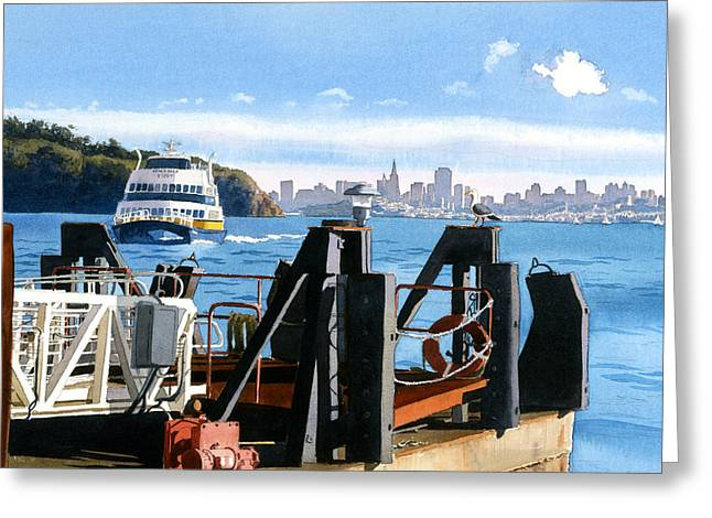 Landing Paintings Greeting Cards - San Francisco Tiburon Ferry Greeting Card by Mary Helmreich