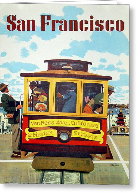 Ocean Vista Digital Art Greeting Cards - San Francisco Tram Travel Greeting Card by Nomad Art And  Design