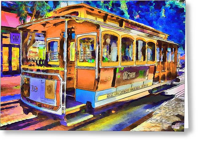 Downtown San Francisco Greeting Cards - San Francisco Trams 1 Greeting Card by Yury Malkov