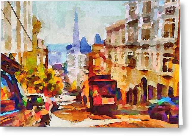 Live Art Greeting Cards - San Francisco Trams 11 Greeting Card by Yury Malkov