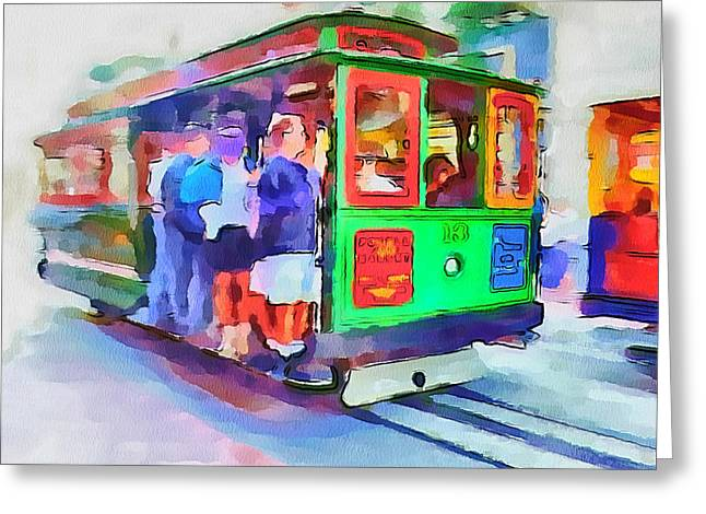 Downtown San Francisco Greeting Cards - San Francisco Trams 3 Greeting Card by Yury Malkov