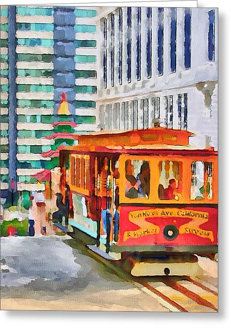 Live Art Greeting Cards - San Francisco Trams 6 Greeting Card by Yury Malkov