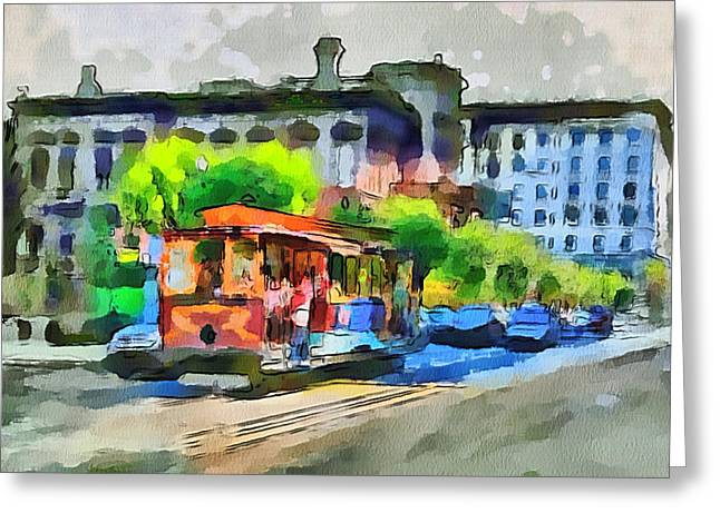 Live Art Greeting Cards - San Francisco Trams 8 Greeting Card by Yury Malkov