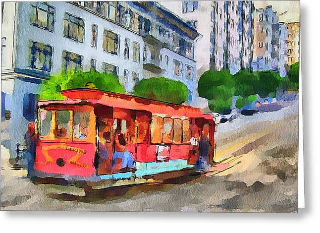 Live Art Greeting Cards - San Francisco Trams 9 Greeting Card by Yury Malkov