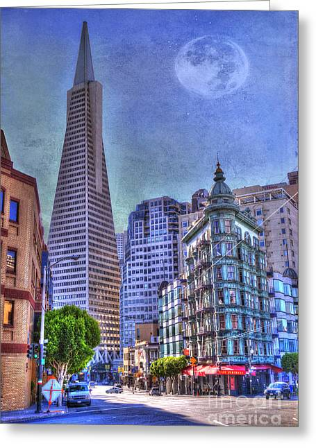 San Francisco Images Greeting Cards - San Francisco Transamerica Pyramid and Columbus Tower view From North Beach Greeting Card by Juli Scalzi