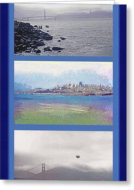 San Francisco Bay Mixed Media Greeting Cards - San Francisco Triptych - City Bay and Bridge Greeting Card by Steve Ohlsen