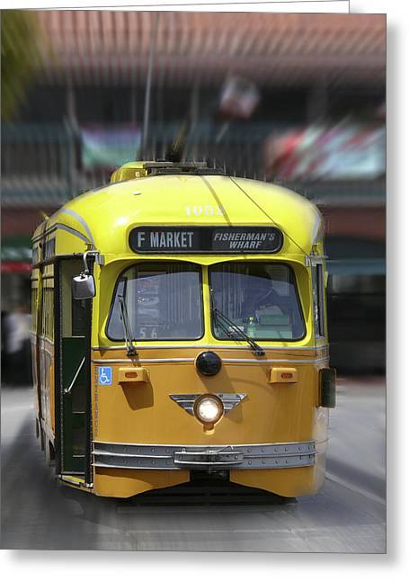 Fishermen Wharf Greeting Cards - San Francisco Trolley Car Greeting Card by Mike McGlothlen
