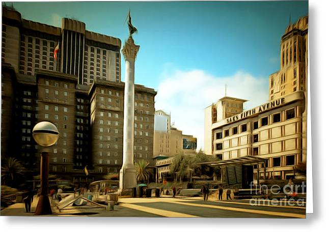 Levi Greeting Cards - San Francisco Union Square 5D17933brun Greeting Card by Wingsdomain Art and Photography
