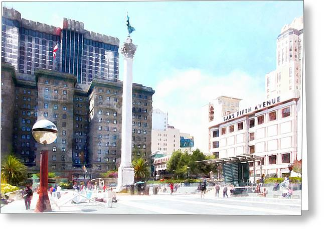 Levi Greeting Cards - San Francisco Union Square 5D17933wcstyle Greeting Card by Wingsdomain Art and Photography