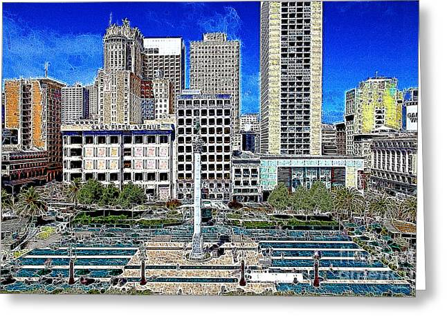 Levi Store Greeting Cards - San Francisco Union Square 5D17938 Artwork Greeting Card by Wingsdomain Art and Photography