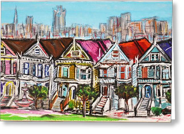 Town Square Pastels Greeting Cards - San Francisco victorian houses Greeting Card by Rubino CELINE