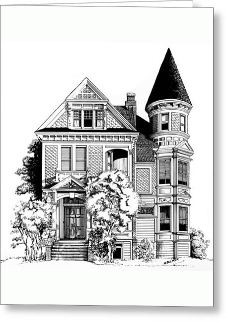 San Francisco Victorian Greeting Card by Mary Palmer