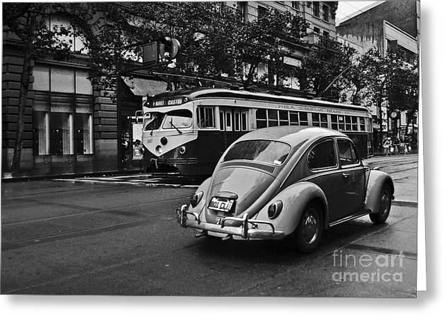 Turismo Greeting Cards - San Francisco Vintage Scene Greeting Card by Carlos Alkmin