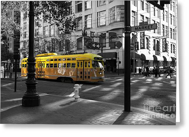 San Francisco Vintage Streetcar On Market Street - 5d19798 - Black And White And Yellow Greeting Card by Wingsdomain Art and Photography