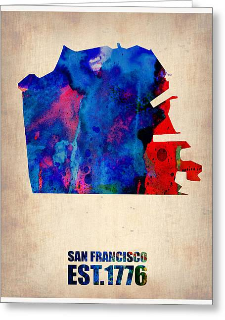 Maps Globes Greeting Cards - San Francisco Watercolor Map Greeting Card by Naxart Studio
