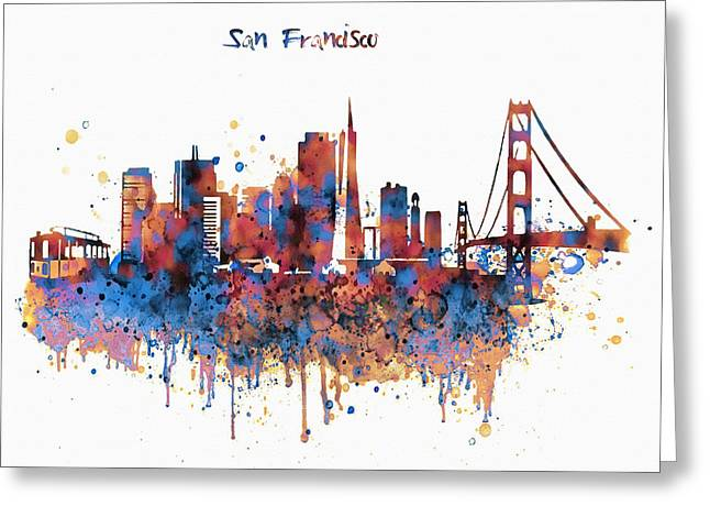 Tangerines Greeting Cards - San Francisco watercolor skyline Greeting Card by Marian Voicu