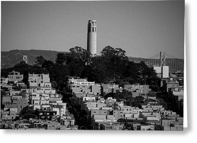 Downtown Area Pictures Greeting Cards - San Franciscos Coit Tower Greeting Card by See My  Photos