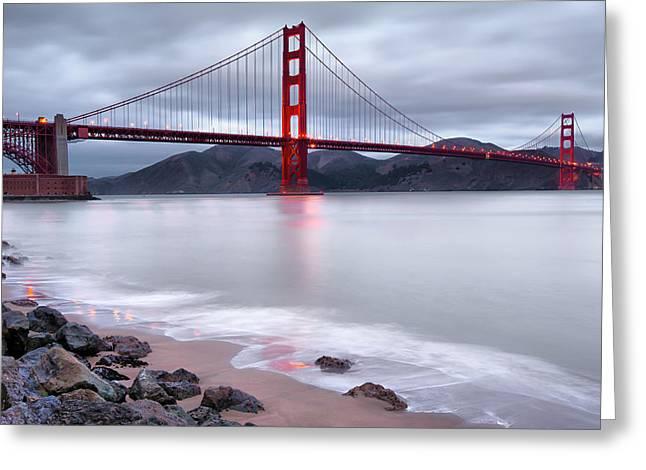 San Francisco Greeting Cards - San Franciscos Golden Gate Bridge Greeting Card by Gregory Ballos