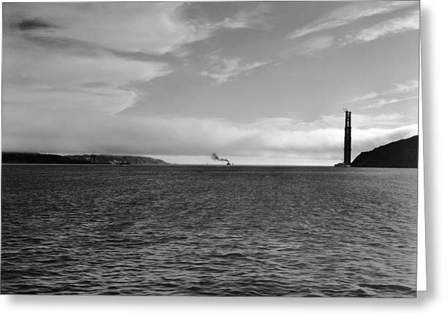 Ripples Of Black And White Greeting Cards - San Francisco‰Ûªs Golden Gate Greeting Card by Moulin