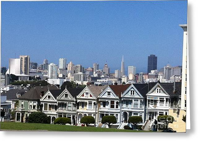 Victorian Pyrography Greeting Cards - San Franciscos painted ladies Steiner St. Greeting Card by Sherri Durrell