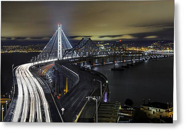 Golden State Warriors Digital Greeting Cards - San Franciso-Oakland Bay Bridge Greeting Card by Jerome Obille