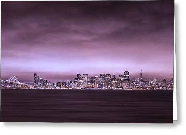 Bay Bridge Greeting Cards - San Fransisco Cityscape Panorama Greeting Card by Brad Scott