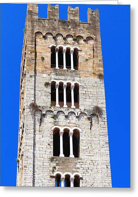 Lucca Greeting Cards - San Frediano Campanile Greeting Card by Valentino Visentini