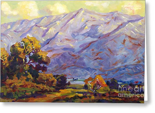 Gabriel Paintings Greeting Cards - San Gabriel Mountains Greeting Card by David Lloyd Glover