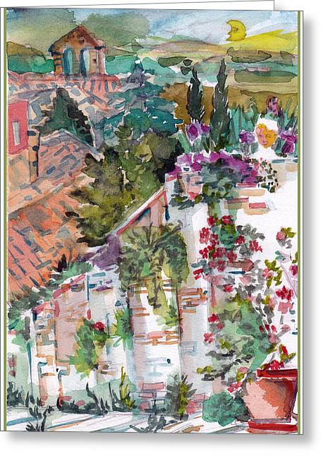 Italian Landscapes Drawings Greeting Cards - San Gimignano Italy Greeting Card by Mindy Newman