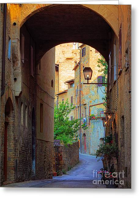 Tourists Greeting Cards - San Gimignano Archway Greeting Card by Inge Johnsson