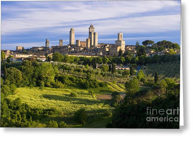 Watch Tower Greeting Cards - San Gimignano Greeting Card by Brian Jannsen