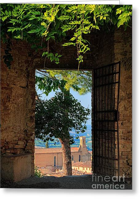 Opening Greeting Cards - San Gimignano door Greeting Card by Inge Johnsson