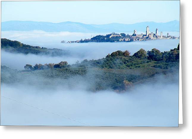 Cities Ceramics Greeting Cards - San Gimignano in the Clouds Greeting Card by Dan Krapf