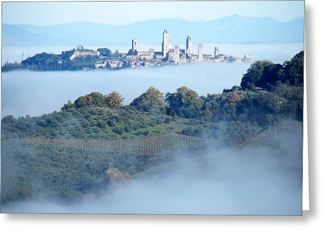 Italy Ceramics Greeting Cards - San Gimignano in the Morning Fog Greeting Card by Dan Krapf