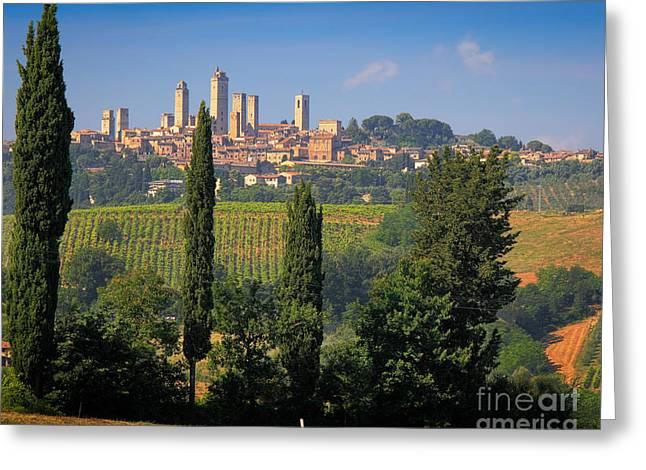 Tuscan Hills Greeting Cards - San Gimignano Greeting Card by Inge Johnsson
