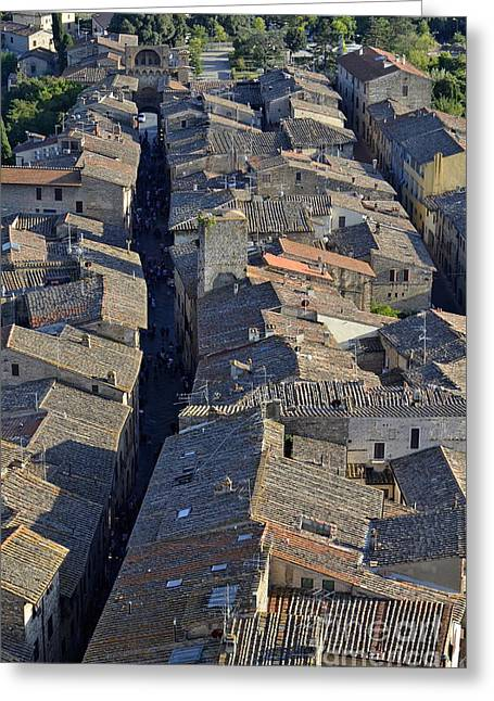 San Gimignano Main Street Greeting Card by Sami Sarkis
