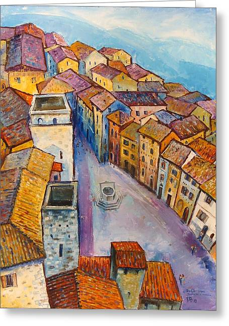 Town Square Greeting Cards - San Gimignano-Piazza dela Cisterna Greeting Card by Mikhail Zarovny